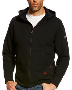 Ariat Men's Black FR Full Zip Hooded Work Jacket, Black, hi-res