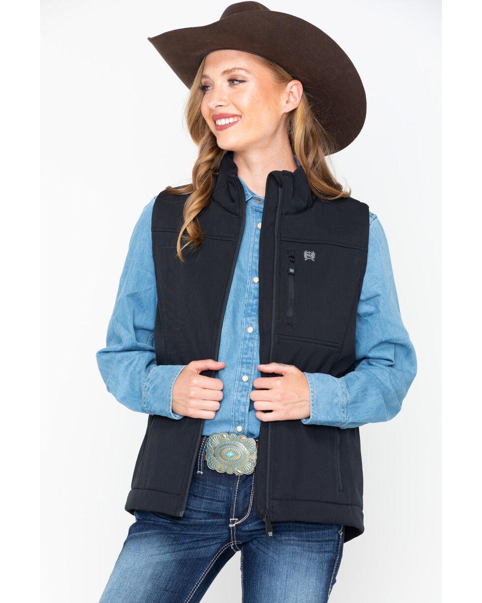 Cinch Women's Solid Softshell Vest , Black, hi-res