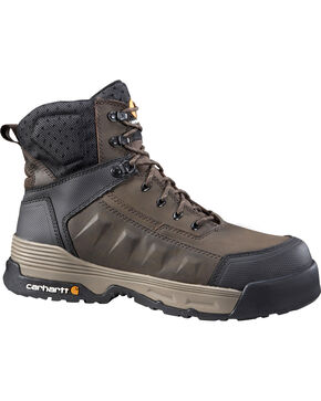 "Carhartt Men's 6"" Lace-Up Waterproof Work Boots - Composition Toe, Brown, hi-res"
