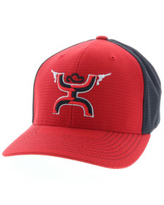 HOOey Boys' Red Gunner Logo Flex Fit Ball Cap , Red, hi-res
