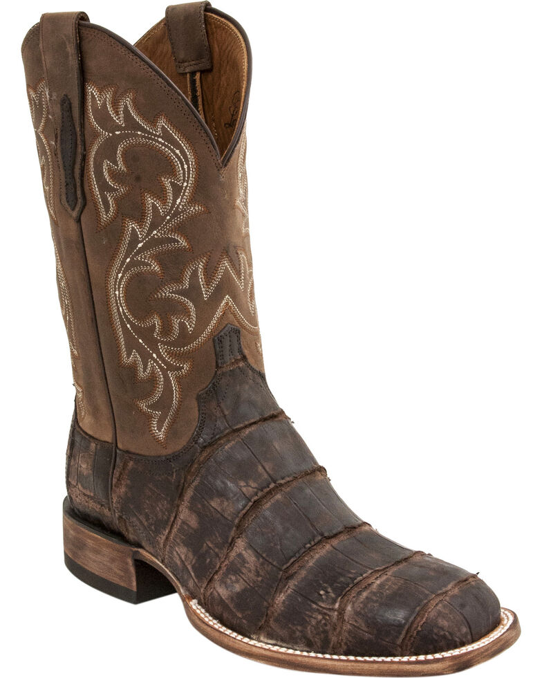 Lucchese Men's Malcolm Alligator Exotic Boots, Chocolate, hi-res