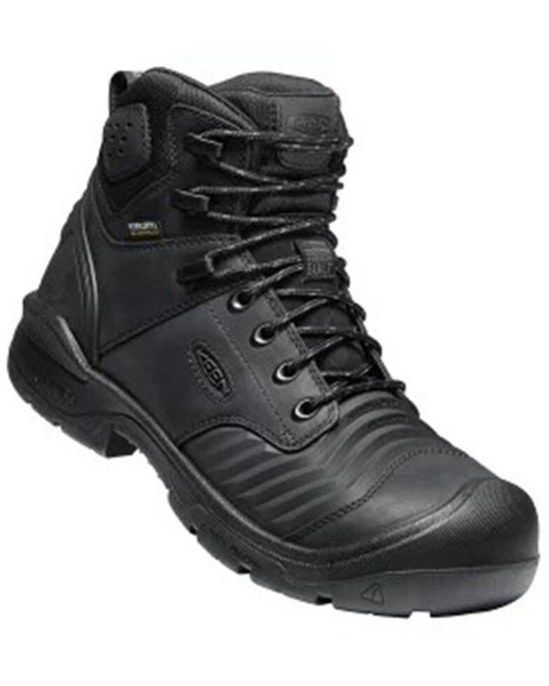 Keen Men's Black Portland Waterproof Work Boots - Carbon Toe, Black, hi-res