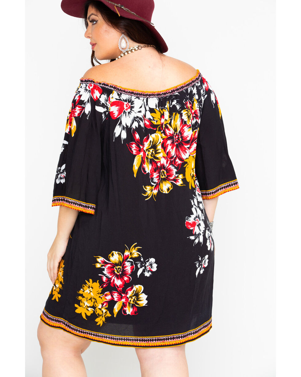 Flying Tomato Women's Floral Print Off Shoulder Dress - Plus , Black, hi-res