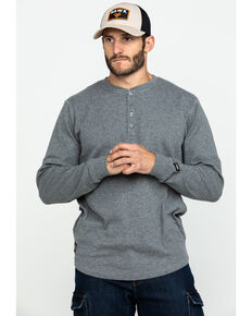 Hawx Men's Heather Grey Thermal Henley Long Sleeve Work Shirt , Heather Grey, hi-res