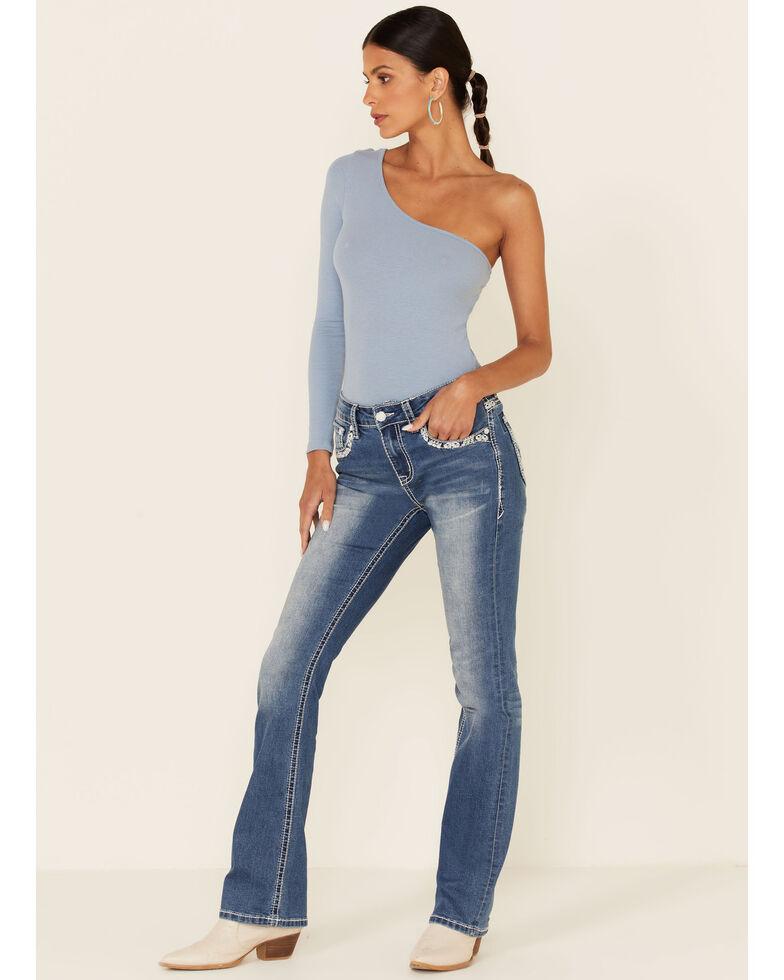 Grace in LA Women's Faux Flap Bootcut Jeans, Blue, hi-res