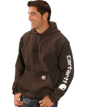 Carhartt Men's Hooded Logo-Sleeve Sweatshirt, Brown, hi-res