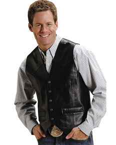 Roper Men's Lamb Leather Vest, Black, hi-res