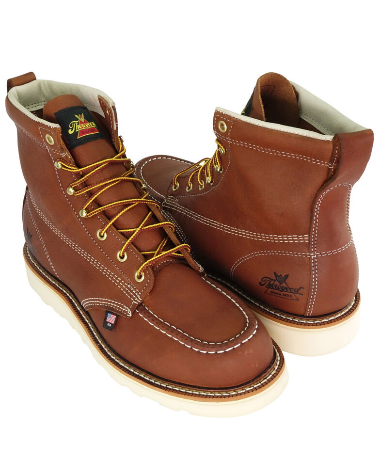"""Thorogood Men's 6"""" Moc Safety Toe Lace-Up Work Boots, Tan, hi-res"""