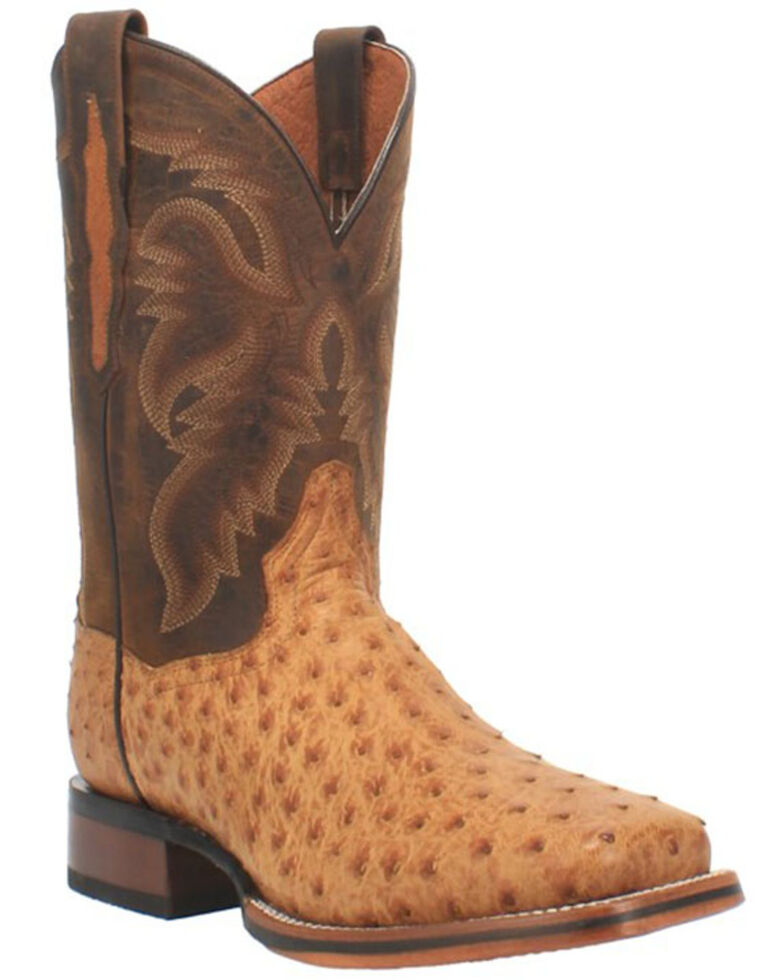 Dan Post Men's Kershaw Exotic Ostrich Skin Western Boots - Wide Square Toe, Tan, hi-res