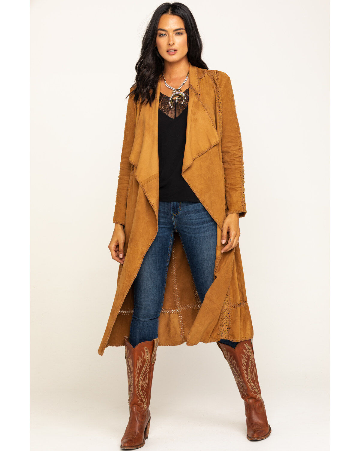 BE VOCAL WESTERN CAMEL FAUX LEATHER LACE CARDIGAN DUSTER JACKET S M L XL USA