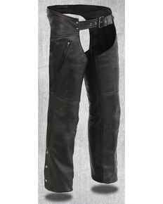 Milwaukee Leather Men's Heated Zipper Side Pocket Chaps - 4X, Black, hi-res