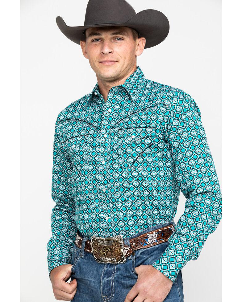 Rock 47 By Wrangler Men's Teal Geo Print Long Sleeve Western Shirt , Teal, hi-res