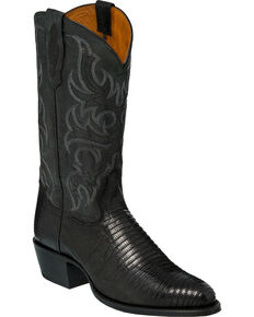 Tony Lama Men's Nacogdoches Black Teju Lizard Cowboy Boots - Medium Toe, Black, hi-res