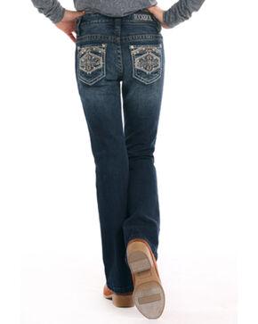 Rock & Roll Cowgirl Girls' Diamond Shaped Stitch Bootcut Jeans, Indigo, hi-res