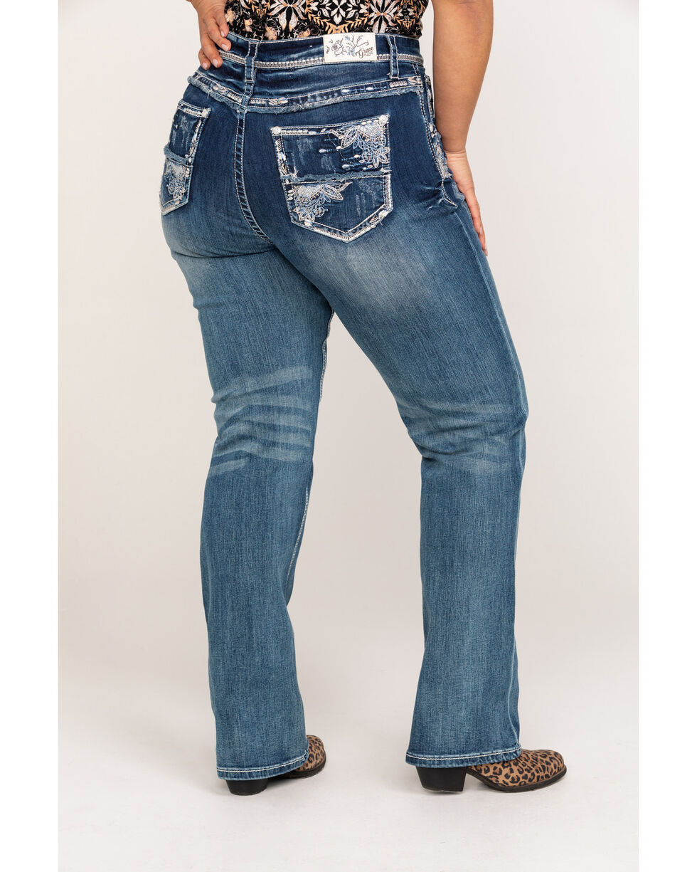 Grace In LA Women's Medium Straight Leg Jeans - Plus, Blue, hi-res