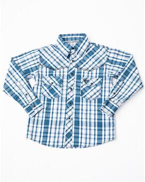 Cowboy Hardware Boys' Triple Plaid Woven Long Sleeve Western Shirt, Blue, hi-res