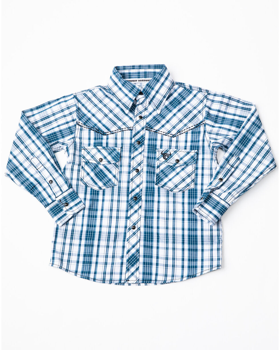 Cowboy Hardware Boys' Triple Plaid Woven Long Sleeve Western Shirt, Blue, hi-res
