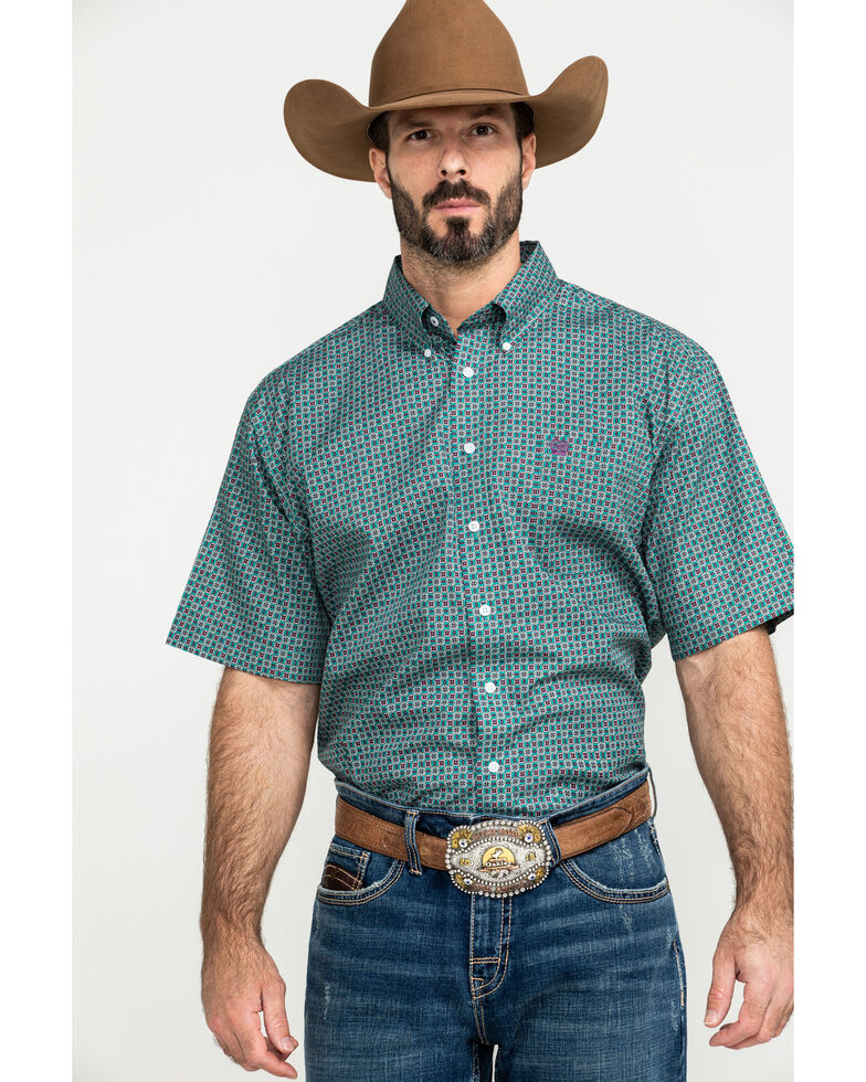 Cinch Men's Green Small Geo Print Short Sleeve Western Shirt - Big , Green, hi-res