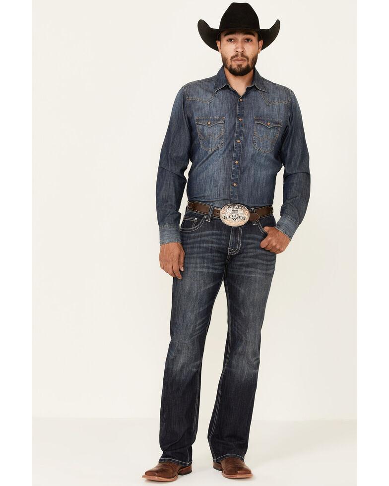 Rock & Roll Denim Men's Dark Wash Vintage Pistol Stretch Regular Bootcut Jeans , Blue, hi-res