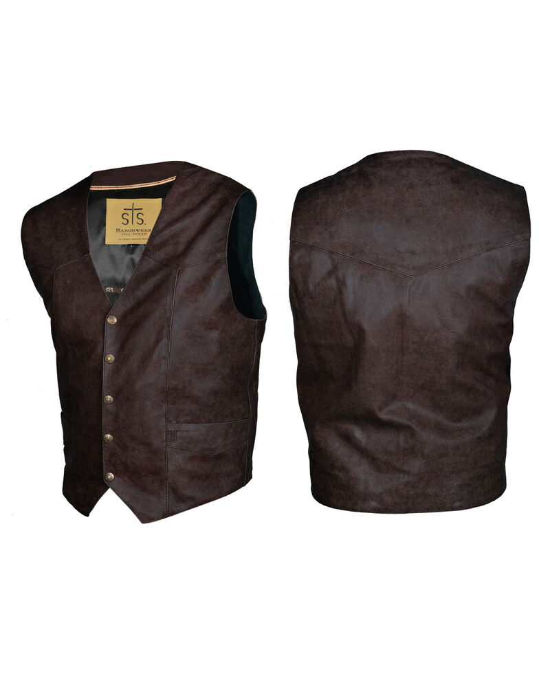 STS Ranchwear Men's Brandy Leather Chisum Vest , Brown, hi-res