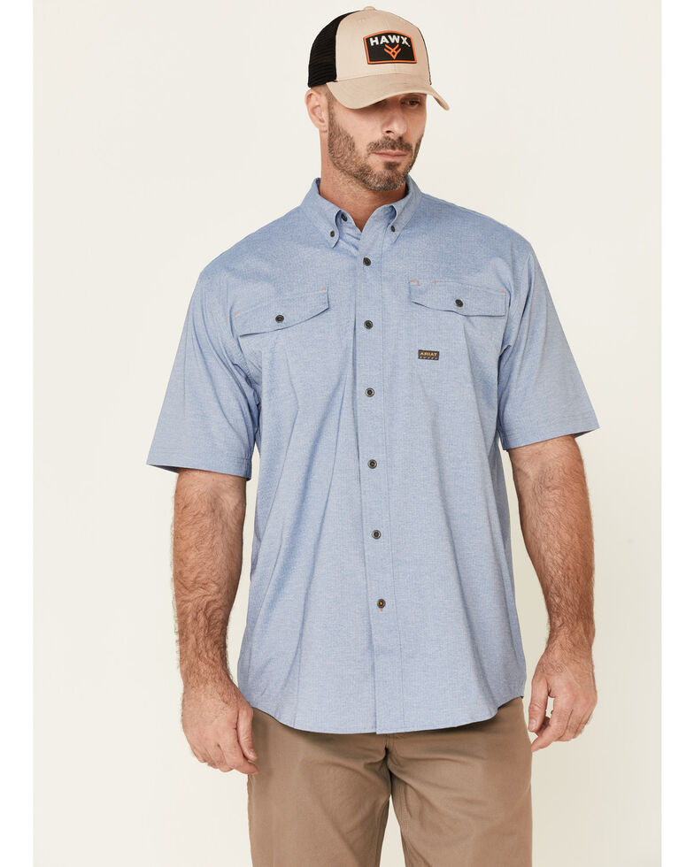 Ariat Men's Light Blue Rebar Made Tough VentTek Durastretch Short Sleeve Button-Down Work Shirt, Light Blue, hi-res