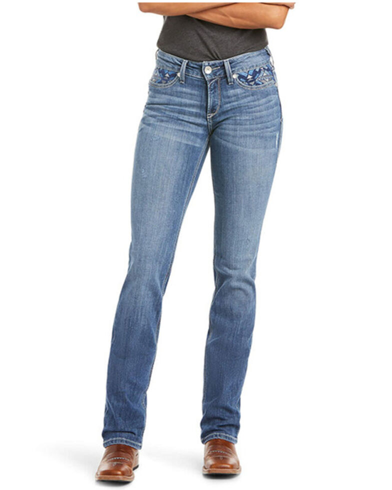 Ariat Women's Mika R.E.A.L. Perfect Rise Straight Jeans, Blue, hi-res