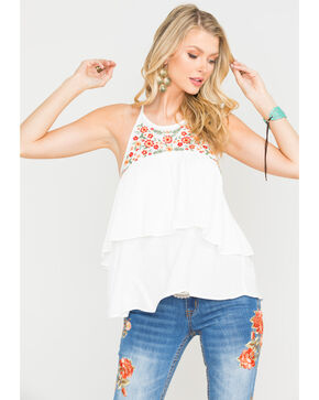 Miss Me Women's Blooming Hottie Halter Top, White, hi-res