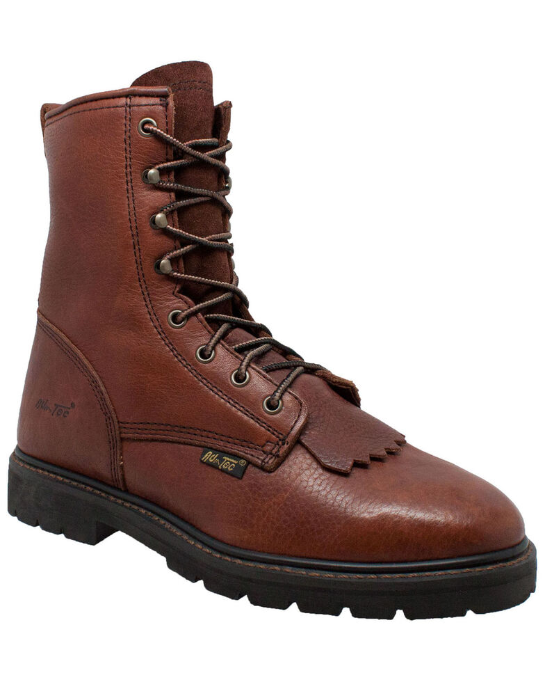 "Ad Tec Men's 9"" Kiltie Work Boots - Soft Toe, Chestnut, hi-res"