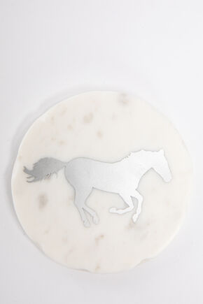 BB Ranch Marble Horse Coasters, White, hi-res