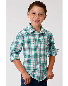 Roper Boys' Amarillo Blue Plaid Long Sleeve Western Shirt , Blue, hi-res