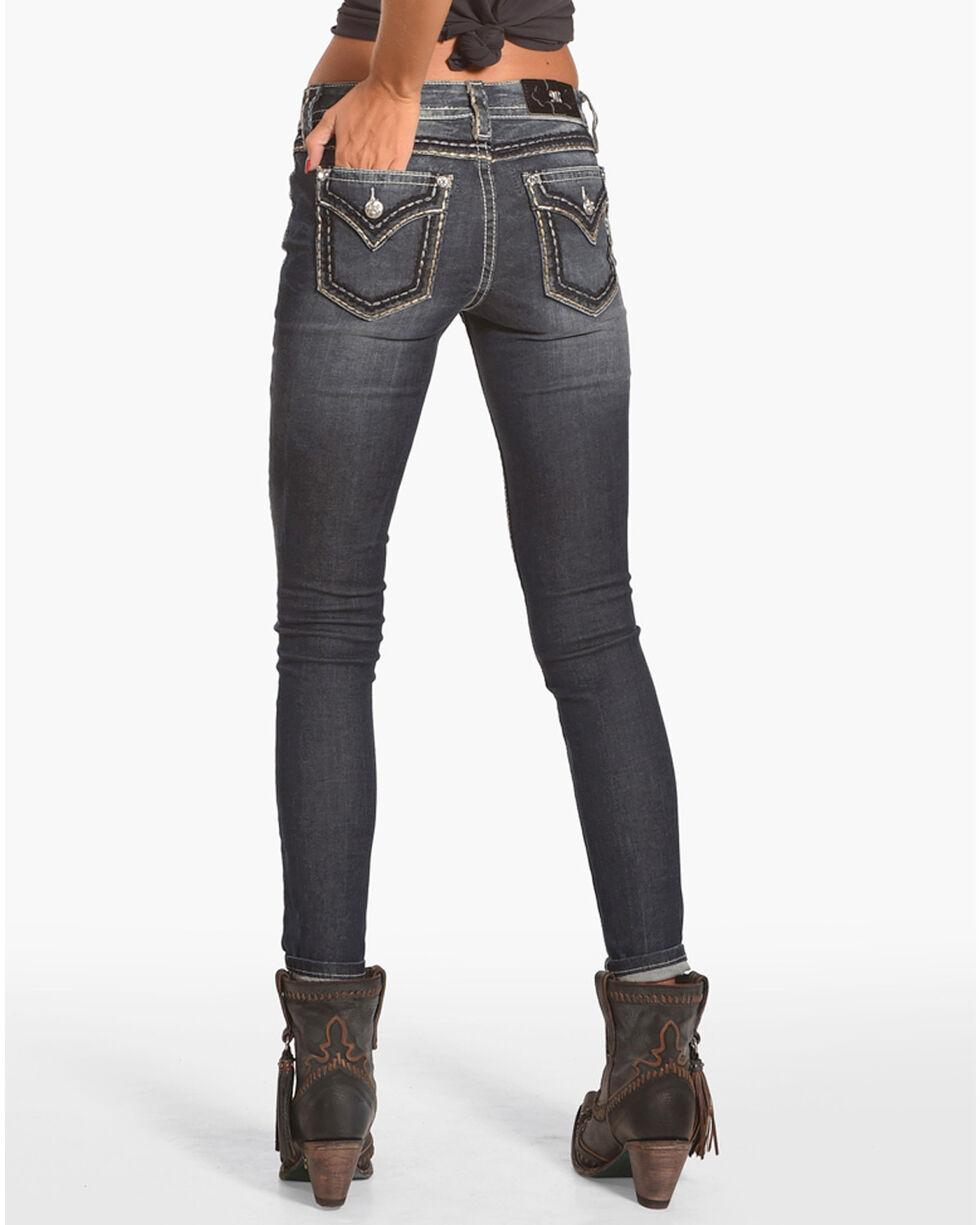 Miss Me Women's Faux Flap Pocket Skinny Jeans, Blue, hi-res