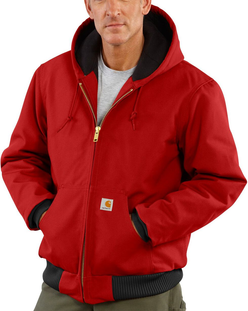 Carhartt Men's Duck Active Quilted Flannel Lined Jacket, Red, hi-res