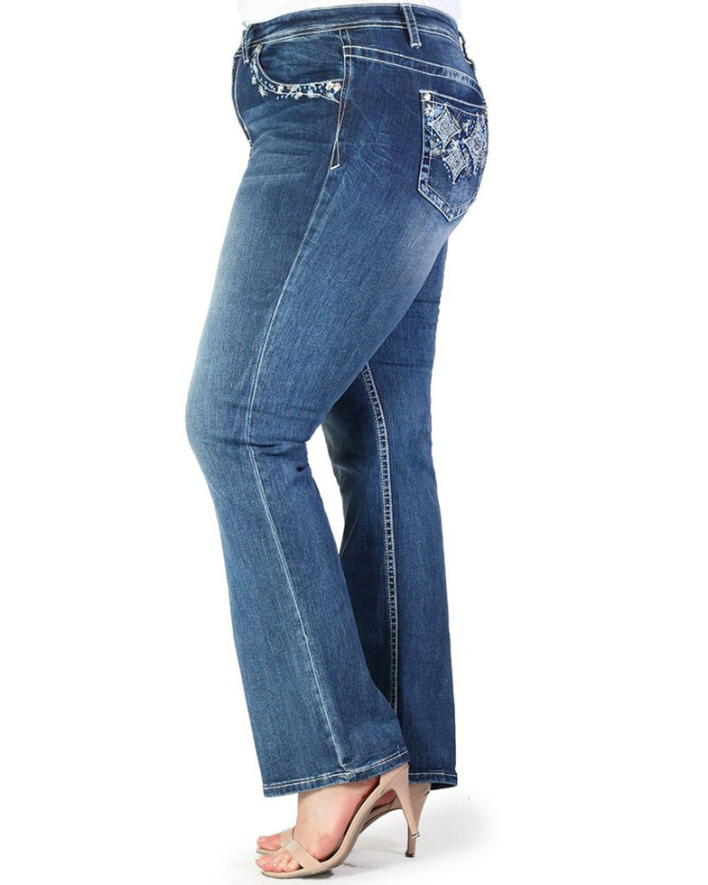 Grace In LA Women's Diamond Pocket Straight Jeans - Plus , Blue, hi-res