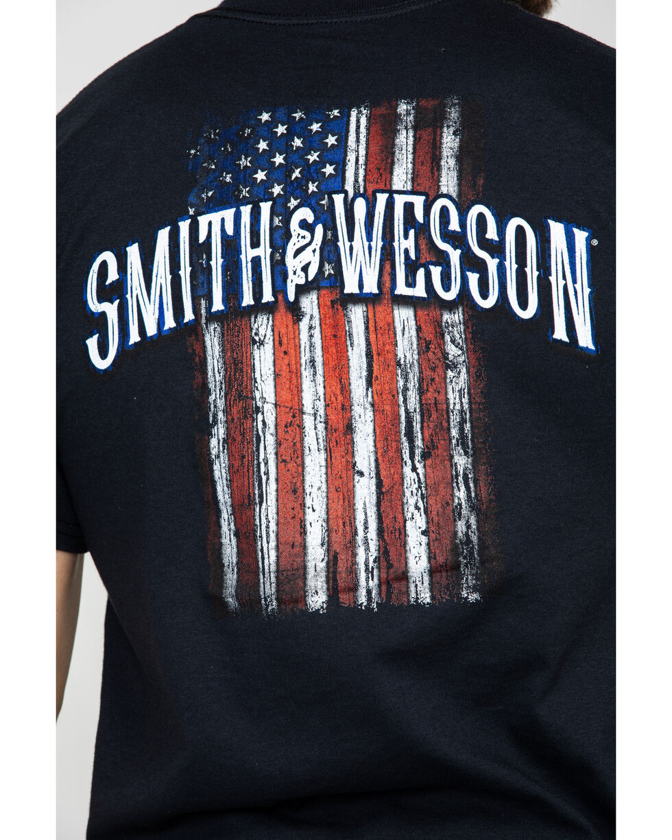 Smith & Wesson Men's Distressed USA Flag Graphic Tee , Black, hi-res