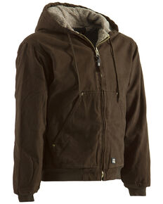 Berne Washed Hooded Work Coat - XLT and 2XT, Bark, hi-res