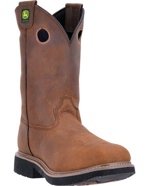 "John Deere Men's 11"" Non-Metallic Dip Top Boots - Composite Toe , Brown, hi-res"