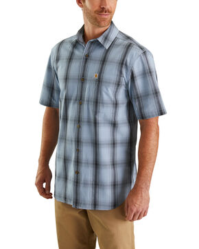 Carhartt Men's Essential Plaid Short Sleeve Work Shirt - Big , Blue, hi-res