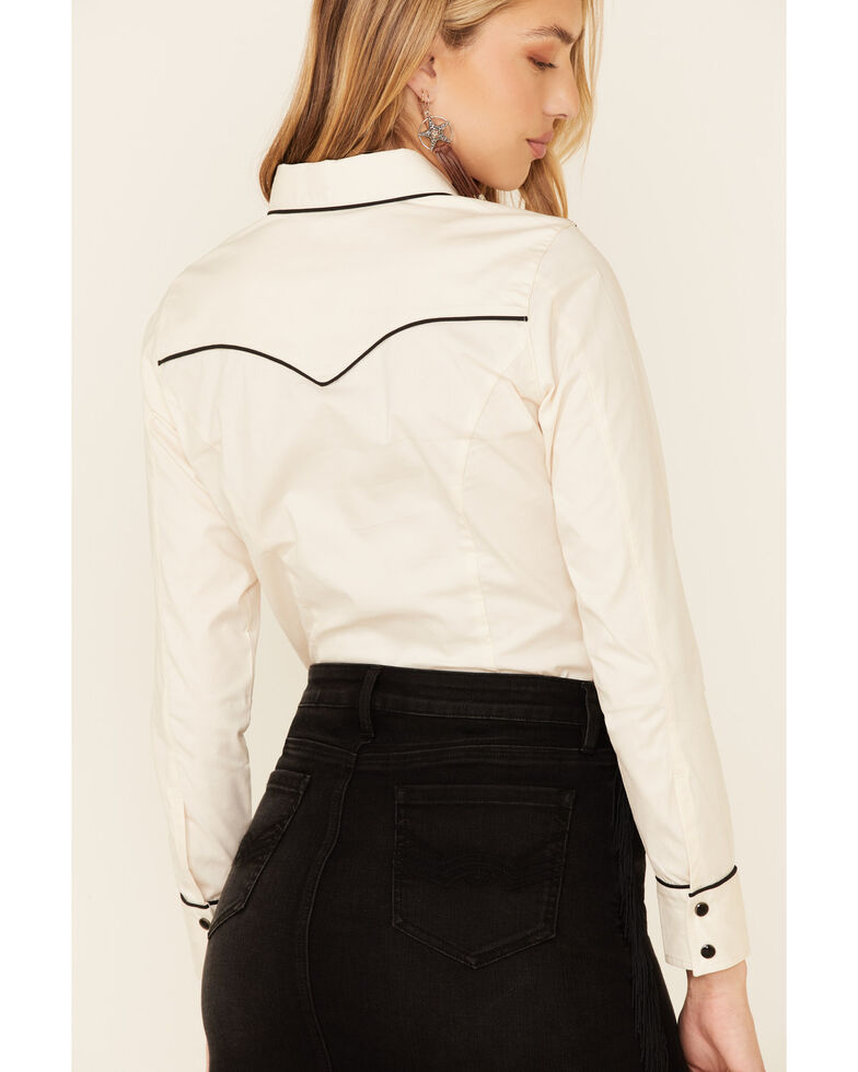 Idyllwind Women's Simply Piped Western Top , Off White, hi-res