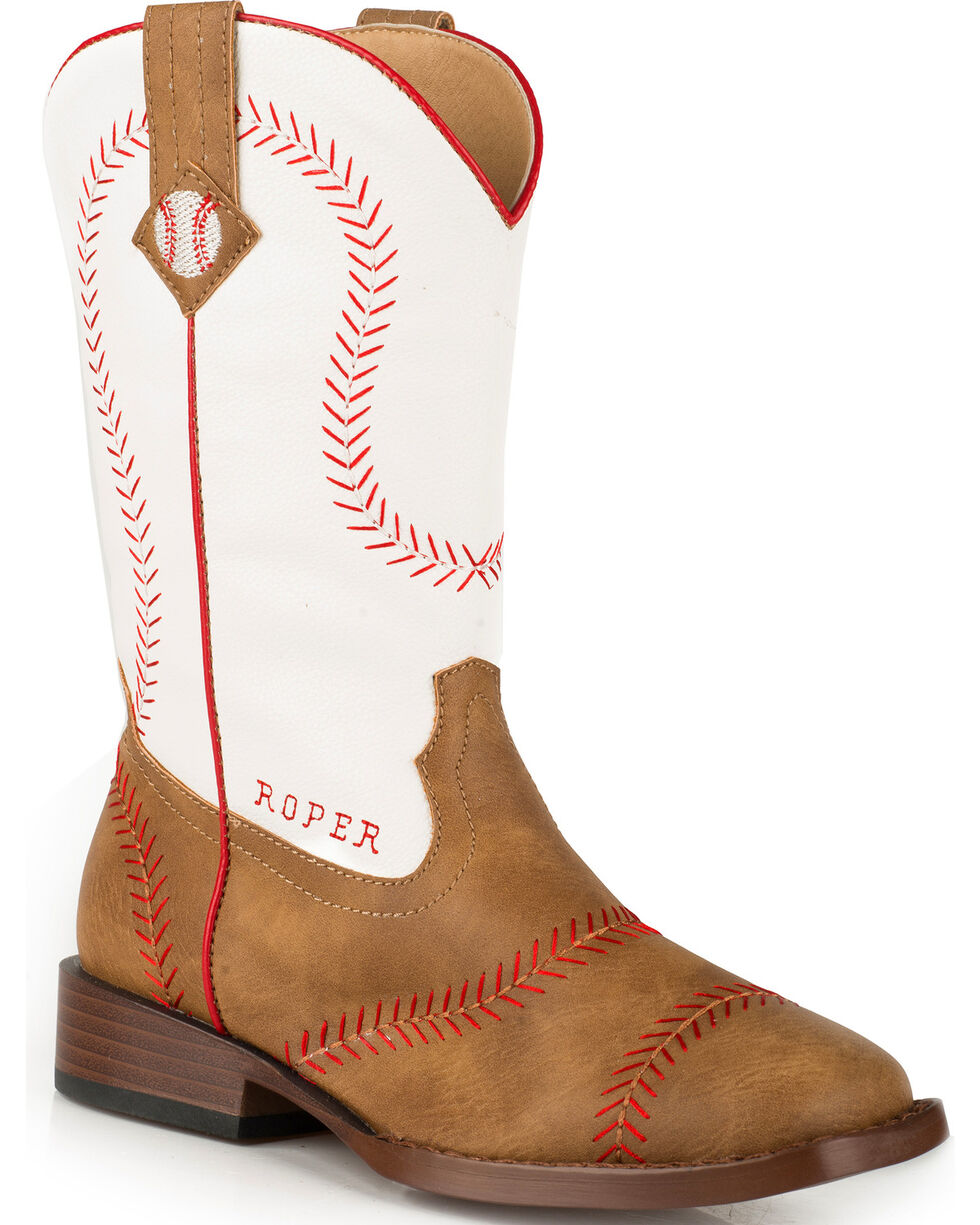 Roper Youth Boys' Baseball Western Boots - Square Toe , Tan, hi-res