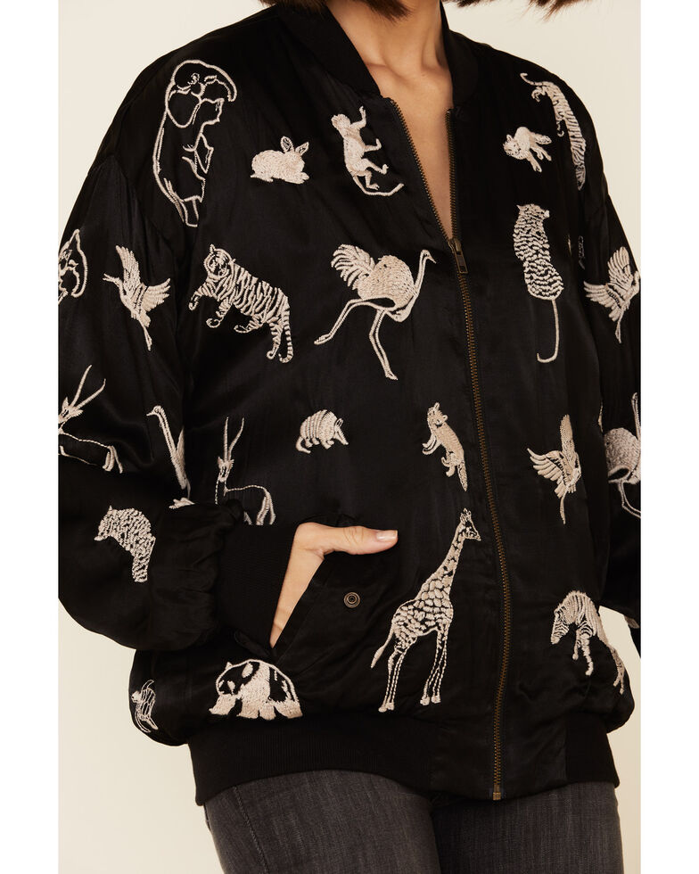 Johnny Was Women's Fauna Over-Sized Bomber Jacket , Black, hi-res