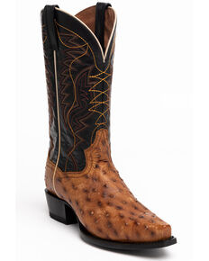 Dan Post Men's Saddle Quilled Ostrich Western Boots - Snip Toe, Brown, hi-res