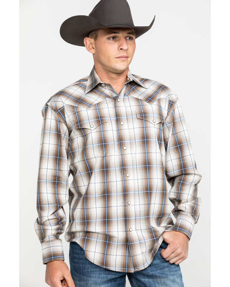 Roper Men's Brown Large Plaid Long Sleeve Western Shirt , Brown, hi-res