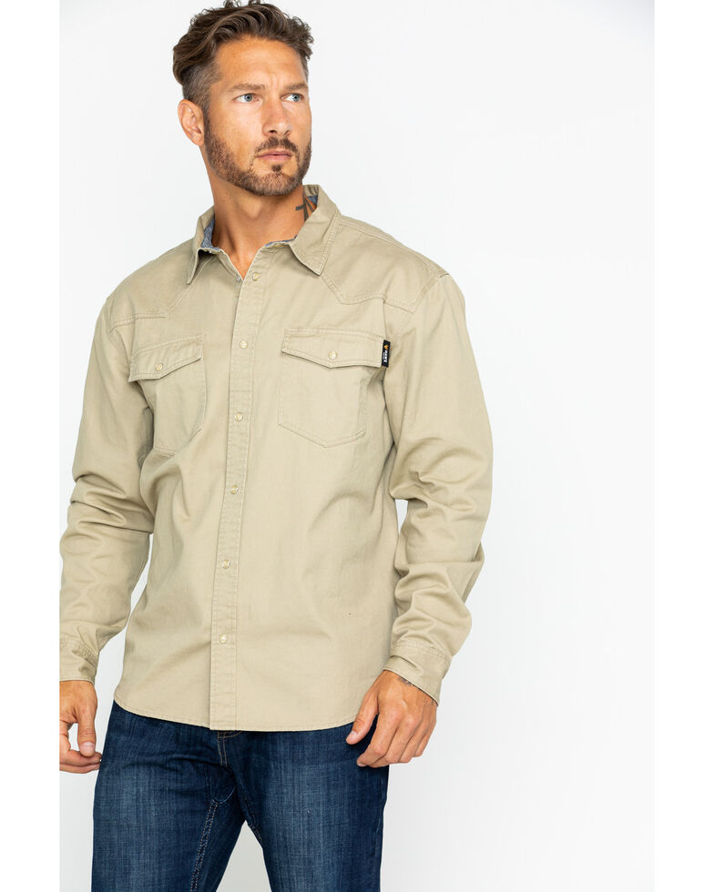Hawx® Men's Twill Snap Western Work Shirt - Tall , Beige/khaki, hi-res