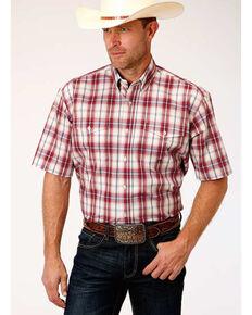 Amarillo Men's Vintage Red Plaid Short Sleeve Western Shirt , Red, hi-res