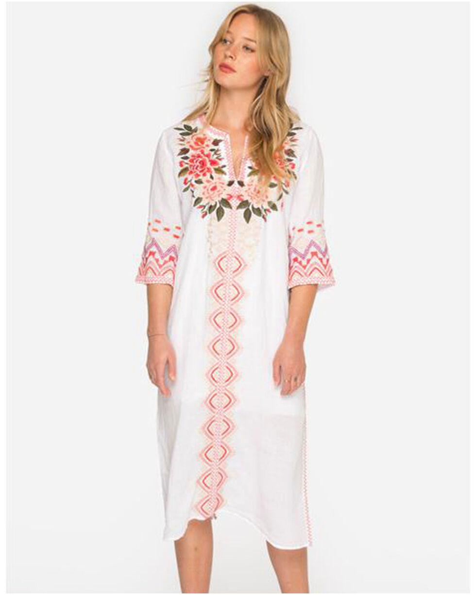 Johnny Was Women's White Parnaz Long Kaftan Dress , White, hi-res