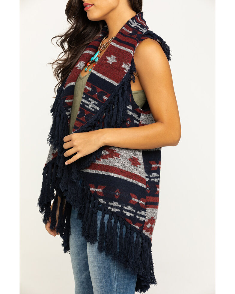 Cripple Creek Women's Open Front Navajo Blanket Fringe Vest, Navy, hi-res