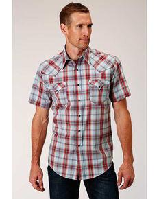 West Made Men's Sandstone Plaid Short Sleeve Western Shirt , Red, hi-res