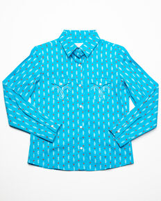 White Label by Panhandle Girls' Heart & Feather Print Long Sleeve Western Shirt, Turquoise, hi-res