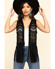 Vocal Women's Lace Studded Fringe Vest, Black, hi-res