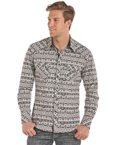 Rock & Roll Cowboy Men's Aztec Chambray Print Long Sleeve Western Shirt , Black, hi-res